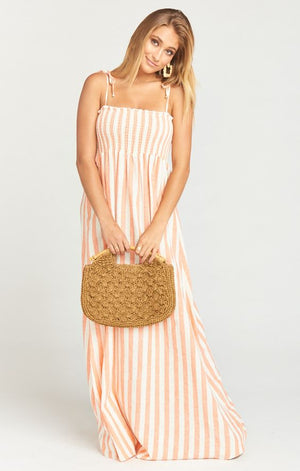 Maggie Maxi Dress in Dreamsicle Stripe Linen