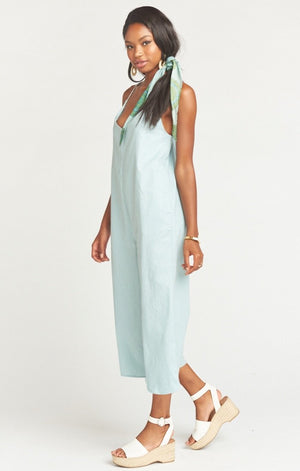 Marisole Overalls in Dusty Blue Linen