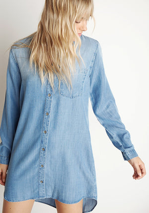Pocket Shirt Dress in Medium Ombre Wash