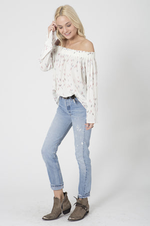 Sun Kiss Shoulder Top in White