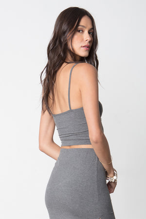 So Simple Crop Tank in Charcoal