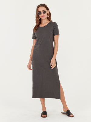 Dana Midi Dress in Charcoal
