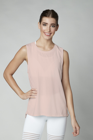 Tap Back Tank in Pink
