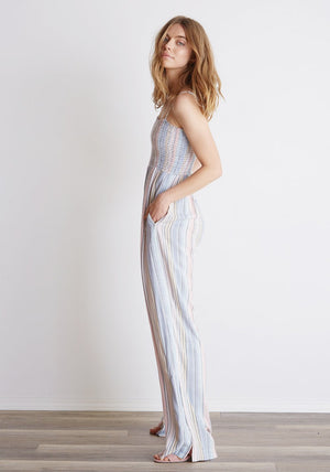 Smocked Flowy Jumpsuit in Ombre Horizon Stripe