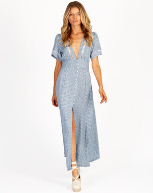 Valentina Dress in Blue Ditzy