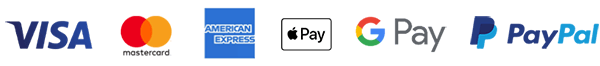 We accept Visa, Mastercard, American Express, Apple Pay, G Pay and PayPal