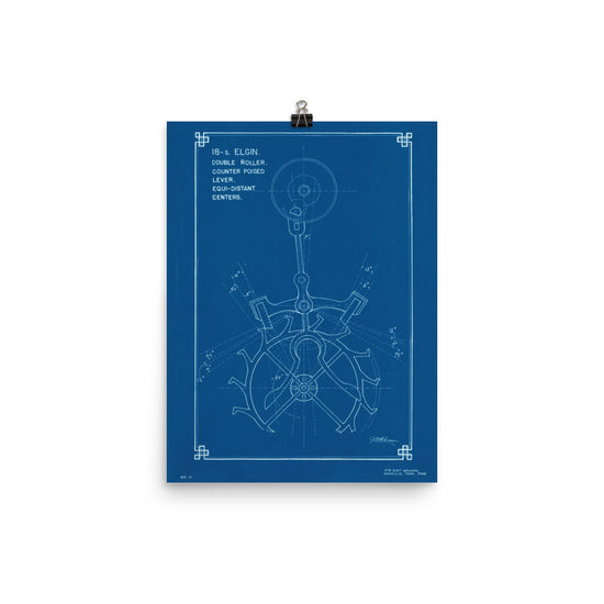 Posters american watchmakers clockmakers institute 18 size elgin escapement blueprint poster by je coleman malvernweather Images
