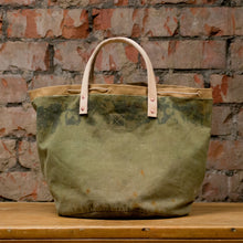 Load image into Gallery viewer, Canvas Green Cylinder Bottom Tote Small (RE-S004)