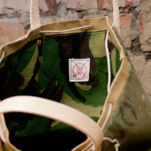 Canvas Green Cylinder Bottom Tote Small (RE-S004)