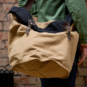 Canvas Tan Cylinder Bottom Tote Large (RE-S003)