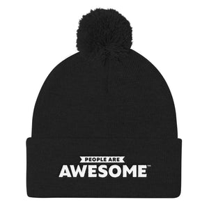 People Are Pom Pom Knit Cap (White Logo)