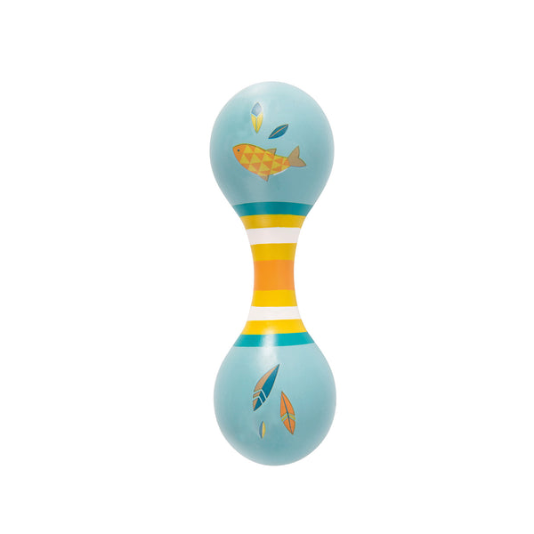 Le Voyage d'Olga Double Sided Wood Maracas (Blue) - Lovingly Signed - Singpaore