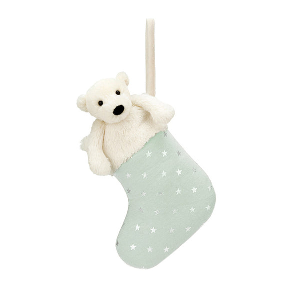 Bashful Polar Bear Stocking - Lovingly Signed - Singapore