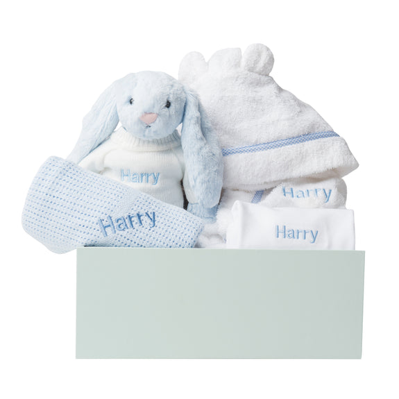 Personalised Baby Boy Welcome Gift Set - Blue - Lovingly Signed - SG