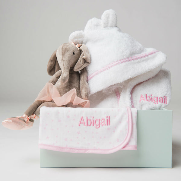 Personalised Dancing Darcey Elephant and Stars & Stripes Bedtime Gift Set - Pink - Lovingly Signed