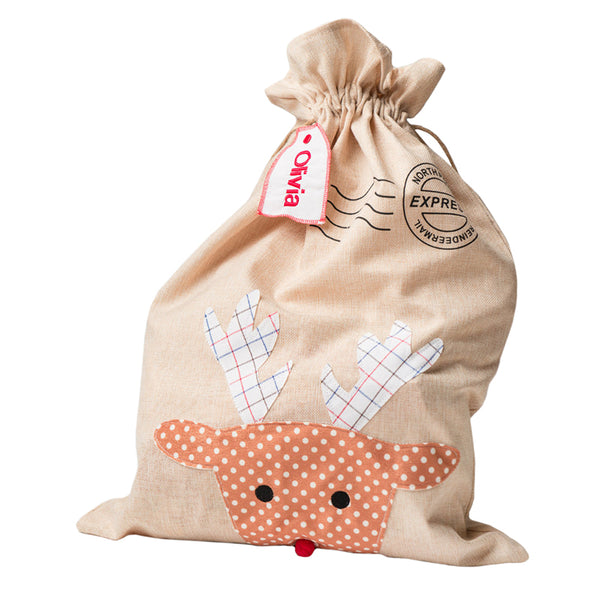 Personalised Reindeer Sack - Lovingly Signed - Singapore