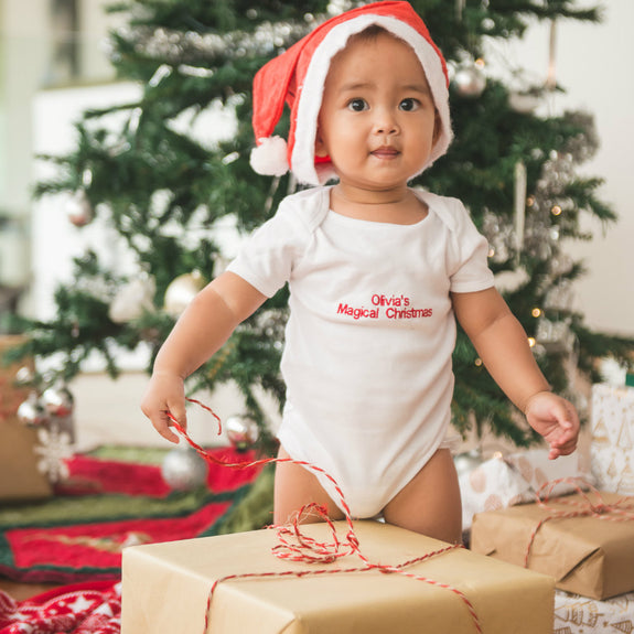 Personalised Magical Christmas Baby Grow - Unisex - Lovingly Signed
