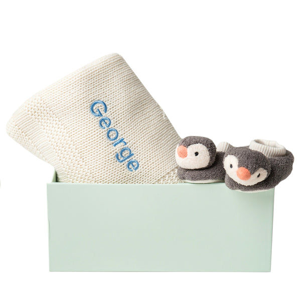 Pippet Penguin and Blanket Gift Set - Cream - Lovingly Signed