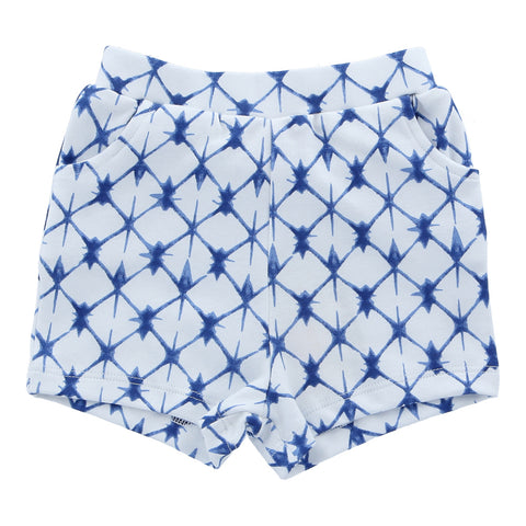 Organic Cotton Shorts - Shibori Blue
