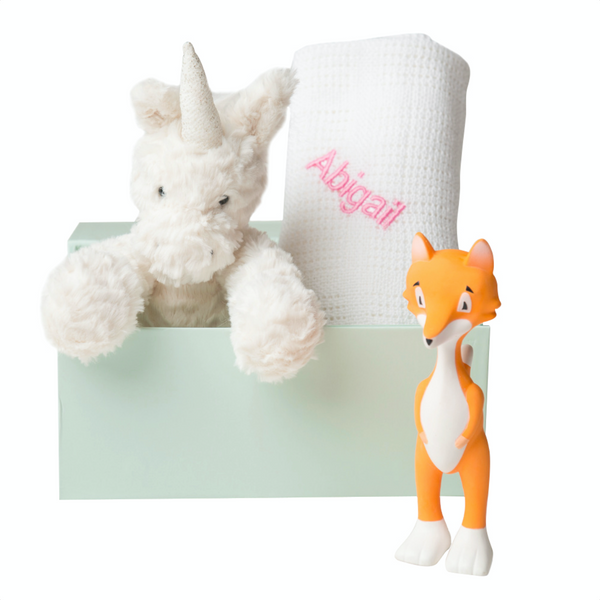 Fuddlewuddle Unicorn, Blanket and Ethan the Fox Set - White - Lovingly Signed - SG