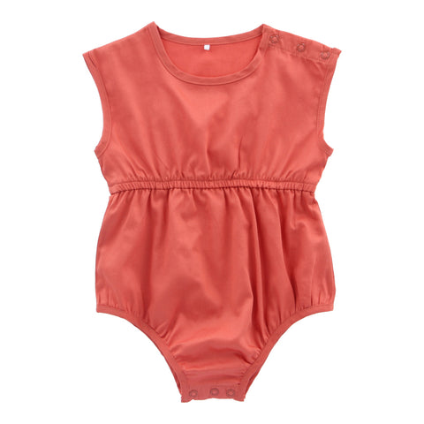 Organic Cotton Short Playsuit - Terracotta