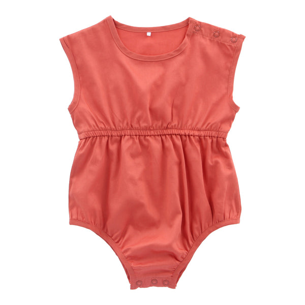 Organic Cotton Short Playsuit - Terracotta - Lovingly Signed - Singapore