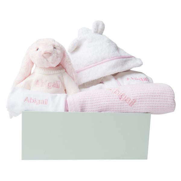 Personalised Baby Girl Welcome Gift Set - Pink - Lovingly Signed - SG