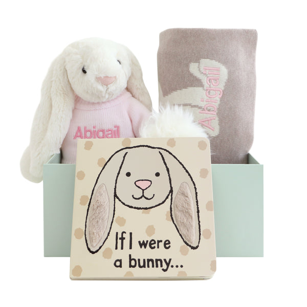 Personalised Bashful Bunny, Blanket and Book Gift Set