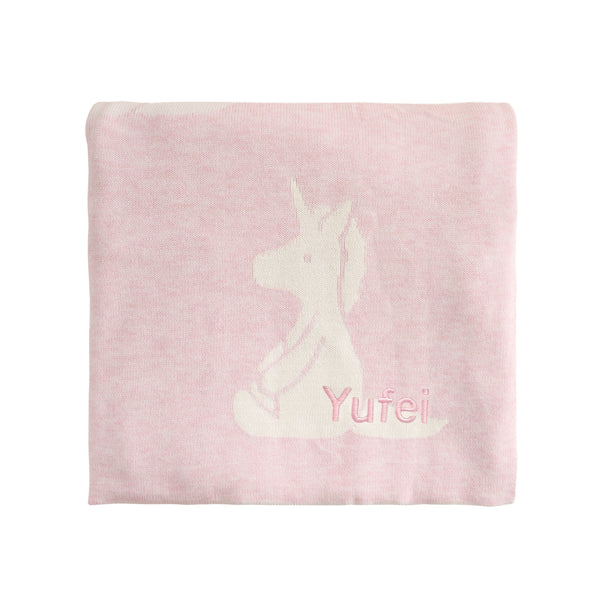 Personalised Bashful Unicorn Blanket