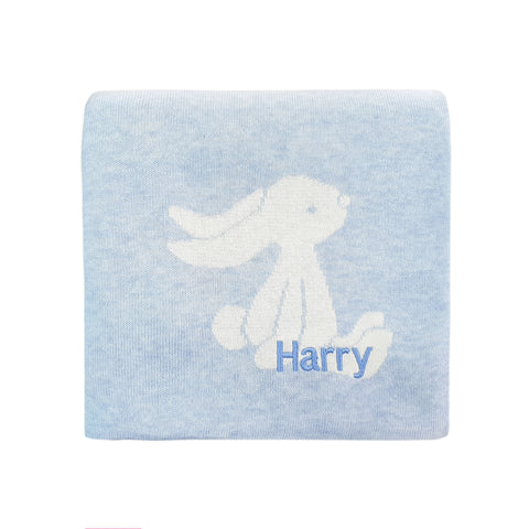 Personalised Bashful Blue Bunny Blanket