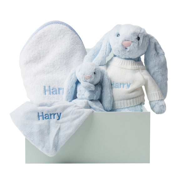 Personalised Bathtime, Bunny and Comforter Snuggle Set - Blue Gingham - Lovingly Signed - SG