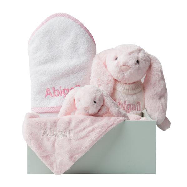 Personalised Bathtime, Bunny and Comforter Snuggle Set - Pink Gingham - Lovingly Signed - SG