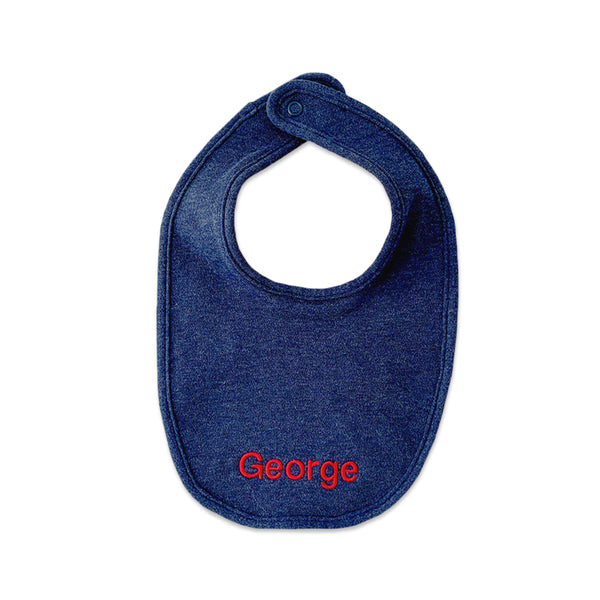 Personalised Organic Cotton Bib - Navy Marl - Lovingly Signed - SG
