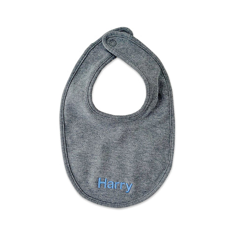 PERSONALISED ORGANIC COTTON BIB - GREY