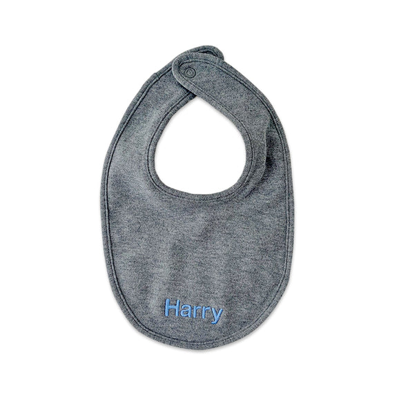 Personalised Organic Cotton Bib - Grey Marl - Lovingly Signed - Singapore