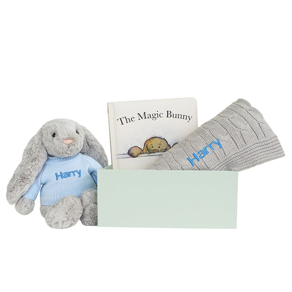 Personalised Magic Bunny Gift Set - Grey - Lovingly Signed - Singapore