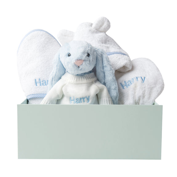 Personalised Bunny Snuggles Baby Bath Set - Blue Gingham - Lovingly Signed - SG
