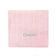 Personalised Luxury Baby Cable Knit Blanket - Pale Pink