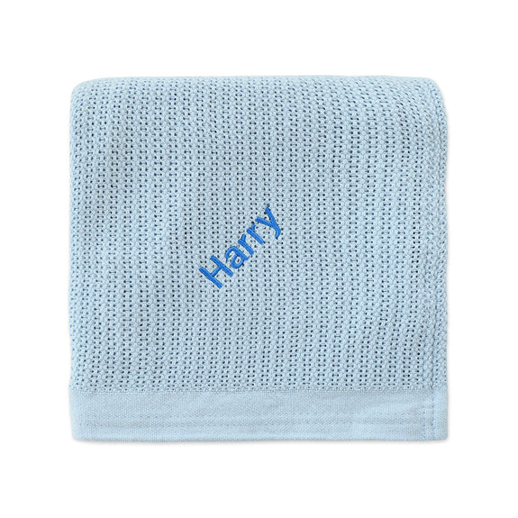 Personalised Organic Cotton Blanket - Blue