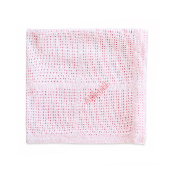 Personalised Soft Cellular Cotton Blanket - Pink - Lovingly Signed - SG