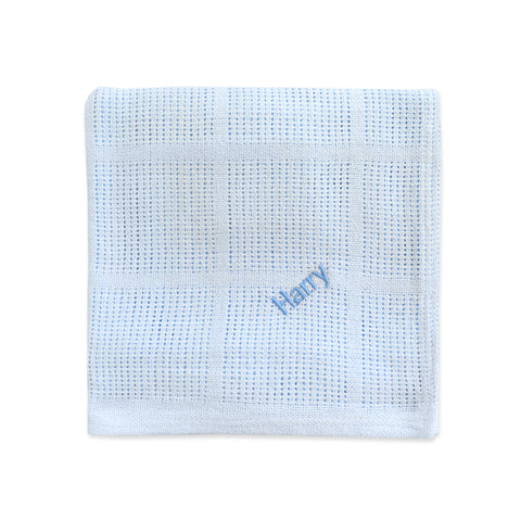 Personalised Soft Cellular Cotton Blanket - Blue