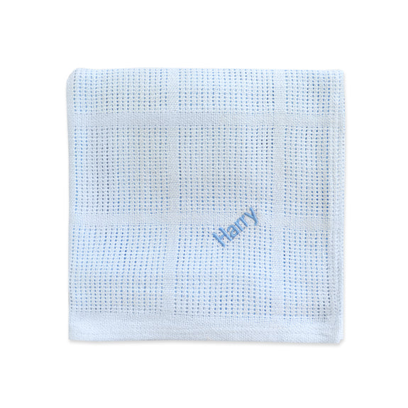 Personalised Soft Cellular Cotton Blanket - Blue - Lovingly Signed - SG