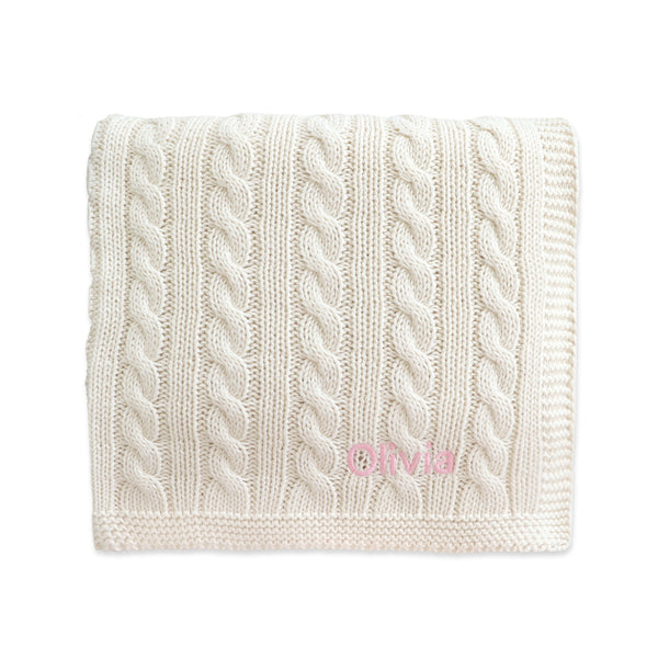 Personalised Super Luxury Baby Cable Knit Blanket - Cream - Lovingly Signed - SG