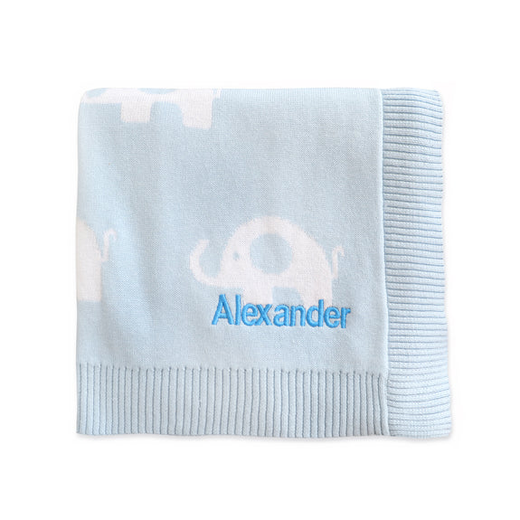 Personalised Blue Elephant Blanket