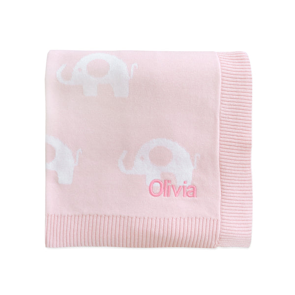 Personalised Pink Elephant Blanket