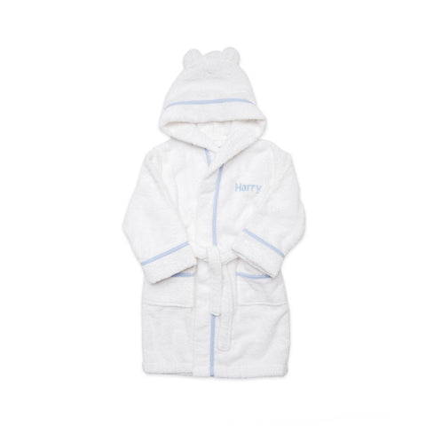 Personalised Luxury Blue Gingham Towelling Robe