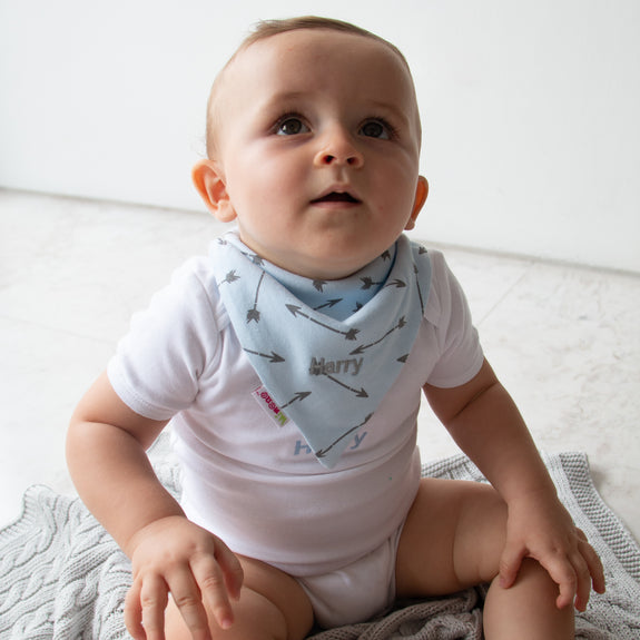 Personalised Bandana Bib Set - Blue & Grey - Lovingly Signed