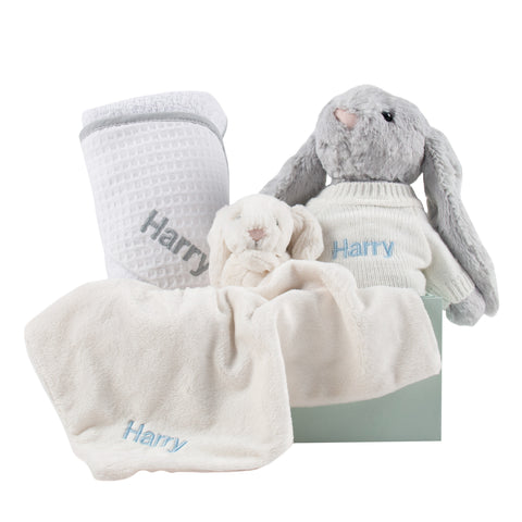 Personalised Hooded Waffle Towel and Snuggles Gift Set - Grey