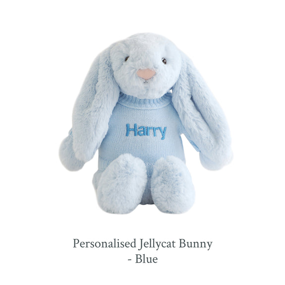 Personalised Jellycat Bunny - Blue - Lovingly Signed - SG
