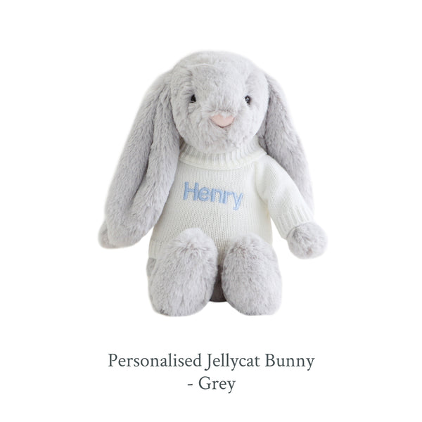 Personalised Jellycat Bunny - Grey - Lovingly Signed - SG